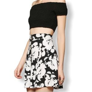 Urban Outfitters Black Flowered Skirt Size XS